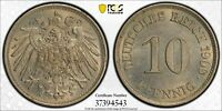1909-J GERMANY 10 PFENNIG PCGS MINT STATE 62
