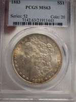 1883 TONED MORGAN SILVER DOLLAR $1 - PCGS MINT STATE 63 -  1443