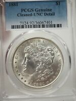 1881 MORGAN SILVER DOLLAR PCGS GENUINE CLEANED UNC DETAIL  7401