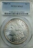 1887-S MORGAN SILVER DOLLAR PCGS MINT STATE 63   MUCH BETTER DATE SOME DECENT RIM TONING
