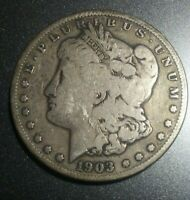 1903-S MORGAN SILVER DOLLAR VG CONDITION   DATE LOW MINTAGE