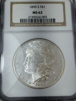 1890-S MORGAN SILVER DOLLAR MINT STATE 62 BY NGC CAMEO - ALMOST PL
