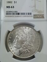 1882-P MORGAN SILVER DOLLAR NGC MINT STATE 63 LOTS OF MINT LUSTER LEFT -  WHITE COIN