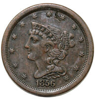 1856 1/2C BRAIDED HAIR HALF CENT  DAMAGE