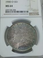 1900 O MORGAN SILVER DOLLAR NGC MINT STATE 64  WITH  MULTI-COLOR TONING ON OBVERSE