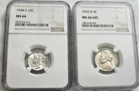 LOT OF TWO  2  NGC CERTIFIED MS66 / MS66 6FS PRE 1945  D & S