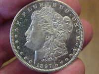 CH BU 1897 S SAN FRANCISCO MORGAN SILVER DOLLAR PROOF LIKE P/L BLAZER MIRRORS