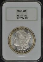 1882 MORGAN SILVER DOLLAR NGC MINT STATE 65 DPL OLD HOLDER