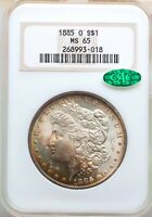 1885-O NGC CAC MINT STATE 65 RAINBOW TONED MORGAN SILVER DOLLAR GEM BU BEAUTY PQ