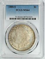 1880-S MORGAN SILVER DOLLAR $1 COIN PCGS MINT STATE 64