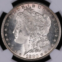 1880 S MORGAN SILVER DOLLAR COIN NGC MINT STATE 63