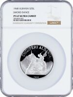 1968 ALBANIA 25 LEKE PROOF SILVER SWORD DANCE NGC PF67 ULTRA CAMEO