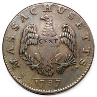 1787 1C MASSACHUSETTS COLONIAL COPPER COIN