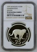 1975 VENEZUELA 25 BOLIVARES JAGUAR SILVER PROOF NGC PF69 ULTRA CAMEO TOP POP
