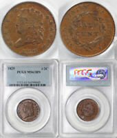 1829 1/2C C-1 CLASSIC HEAD HALF CENT PCGS MINT STATE 63 BN EARLIER DIE STATE