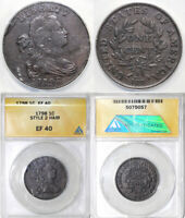 1798 1C S-171 2ND HAIR STYLE DRAPED BUST LARGE CENT ANACS EF 40