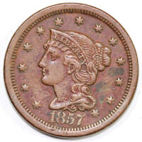 1857 1C LARGE DATE BRAIDED HAIR LARGE CENT