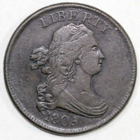 1805 1/2C C-1 STEMLESS WREATH DRAPED BUST HALF CENT EX DAVY COLLECTION