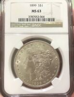 1899-P CERTIFY MINT STATE 63 ICG  MORGAN SILVER DOLLAR MUST GO-NEED $$ PAY FOR CHEMO