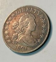 1805 DRAPED BUST SILVER HALF DOLLAR VF  FINE  CONDITION,  AND A BEAUTY