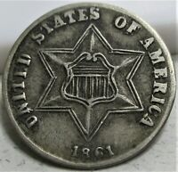1861 THREE CENTS SILVER 3C   XF     US COIN.