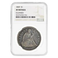1849 SEATED LIBERTY SILVER DOLLAR $1 COIN NGC EXTRA FINE  DETAILS
