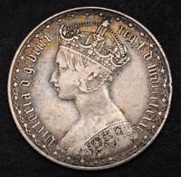 1871 GREAT BRITAIN QUEEN VICTORIA. SILVER GOTHIC FLORIN  2 S