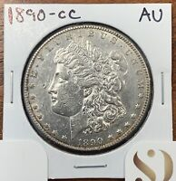 1890-CC MORGAN SILVER DOLLAR ABOUT UNCIRCULATED AUKEY DATE