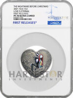 NIGHTMARE BEFORE CHRISTMAS   LOVE HEART SHAPED COIN   NGC PF
