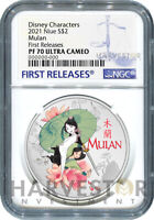 2021 DISNEY PRINCESS   MULAN   1 OZ. SILVER COIN   NGC PF70