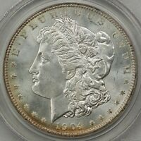 1904-O MORGAN SILVER DOLLAR, PCGS MINT STATE 65, OLD GREEN HOLDER, SUPER CHOICE FOR 65