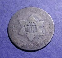 1852 THREE CENT SILVER AG/G