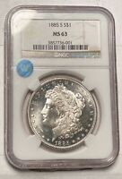 MORGAN SILVER DOLLAR 1885 S NGC MINT STATE 63