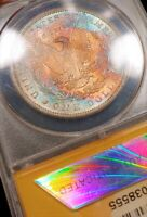 1888-O ANACS MINT STATE 64 END ROLL RAINBOW TONED EOR COLOR MORGAN LUSTER SOLID GRADE