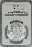 1887-P NGC SILVER MORGAN DOLLAR MINT STATE 65 MINT STATE UNC COIN