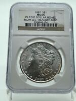 1887-P $1 MORGAN SILVER DOLLAR - NGC MINT STATE 65 FROM THE OLATHE DOLLAR HOARD