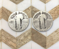 STANDING LIBERTY QUARTERS 90 SILVER COIN LOT OF 2 CIRCULATED NO DATE