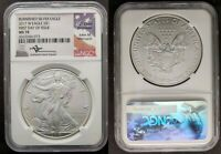 2017 W MS 70 BURNISHED MERCANTI SIGNED FIRST DAY FDOI SILVER EAGLE MS70