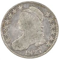1827 CAPPED BUST SILVER HALF DOLLAR 50C - CIRCULATED -