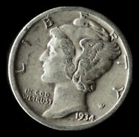 1934-P MERCURY 90 SILVER DIME SHIPS FREE. BUY 5 FOR $2 OFF