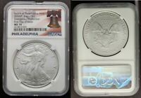 2020 P MS70 EMERGENCY PRODUCTION FIRST FDOI SILVER EAGLE PHILADELPHIA NGC BELL