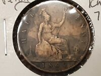 1862 GREAT BRITAIN ONE PENNY FINE DETAILS KM748.2  .99C NO R