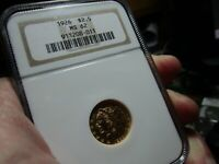 GOLD  NICE 1926 INDIAN HEAD QUARTER EAGLE $2.50  NGC   MS 62
