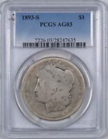 1893-S MORGAN SILVER DOLLAR THE KEY DATE PERFECT AG03 $1 - PCGS AG03 -