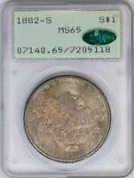 1882-S PCGS SILVER MORGAN DOLLAR MINT STATE 65 CAC OGH RATTLER DOUBLE SIDED TONED