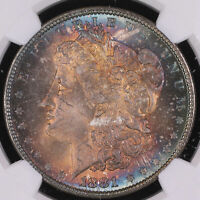1884 MORGAN SILVER DOLLAR COIN MONSTER TONING NGC MINT STATE 64