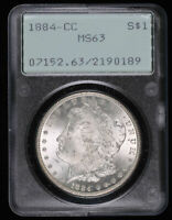 1884 CC MORGAN SILVER DOLLAR COIN OGH RATTLER PCGS MINT STATE 63
