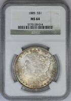 1885-P NGC SILVER MORGAN DOLLAR MINT STATE 64 SOLID DOUBLE SIDED TONED