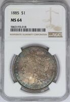 1885-P NGC SILVER MORGAN DOLLAR UNC MINT STATE 64 SOLID DOUBLE SIDED TONED