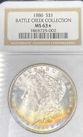 1886 MINT STATE 63 BATTLE CREEK HOARD TONED BLUE & GOLD NGC MORGAN SILVER DOLLAR $1 PQ